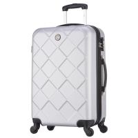 博兿(BOYI)拉杆箱男女万向轮旅行箱26英寸行李箱 ABS钻石纹系列 BY62003银白色