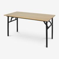 尼德(need)可折叠电脑桌子 家用办公会议培训桌 AC5BB (140*60) E1级环保无味 柚木面黑腿