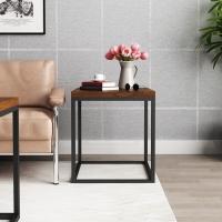 慧乐家 边桌茶几 美式loft方形边桌 复古工业风铁艺方边几 咖啡色 22201