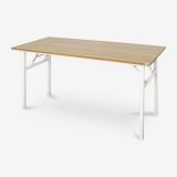 尼德(need)可折叠电脑桌子 家用办公会议培训桌 AC5BW (140*60) E1级环保无味 柚木面白腿