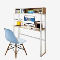 千意爱家居电脑桌 台式家用现代简约书桌带书架组合电脑桌 浅胡桃白架 DNZ2150