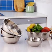 欧润哲 汤盆 加厚304不锈钢菜盆沙拉调味汤盆水果盆厨房工具 6件套