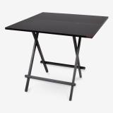 尼德(need)便携可折叠式四人方型餐桌子 简约时尚耐用加大号 AC6CB (80*80) E1级环保健康 黑橡面黑腿