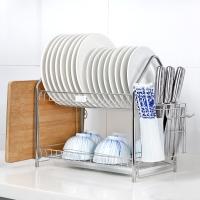 朝暮之家厨房置物架304不锈钢收纳架碗碟架双层沥水碗架碗盘架放碗架刀架筷子筒ZM3208