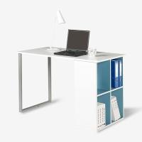 好事达书桌书架组合 办公电脑桌 学生学习桌子蓝白1241