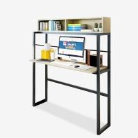 千意爱家居电脑桌 台式家用现代简约书桌带书架组合电脑桌 白枫木黑架 DNZ2150