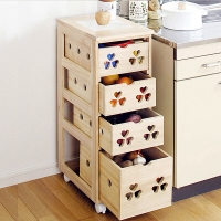 家逸 餐边柜实木 厨房收纳柜 储物碗柜 水果蔬菜柜四层