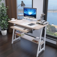 美达斯 电脑桌 贝拉简约电脑桌带键盘抽 会议室培训桌子钢木懒人小桌 枫木色 13100