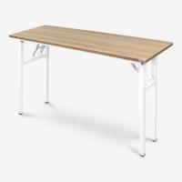 尼德 亚当系列E1级环保钢架折叠餐桌子家用AC5BW-E1(120*40)柚木面白框
