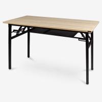尼德(NEED)员工培训桌折叠长条电脑桌子 简约时尚现代会议长桌 AC7BB (120*60)-E1 柚木面黑腿