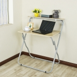 慧乐家 电脑桌 双层台式电脑桌 金属办公学习桌  木纹色 22190