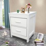 HMJIA 床头柜 简约床头柜仿实木抽屉柜两抽床头柜白色
