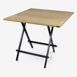 尼德(need)便携可折叠式四人餐桌子 户外家用棋牌桌 可打麻将桌 AC6BB (80*80) E1级环保健康 柚木面黑腿