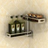 艾心依然 调料架 厨房壁挂免打孔304不锈钢旋转置物架厨房用品 手工双面拉丝二层