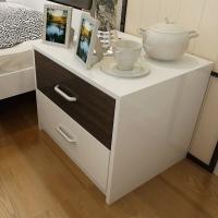 美宜德曼 床头柜 现代简约床头柜双色收纳柜两抽储物柜白色+黑色