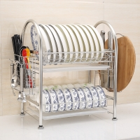艾心依然 碗碟架沥水架 304不锈钢双层厨房置物架收纳架带砧板架筷子筒