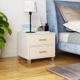 慧乐家 床头柜 简约现代双抽床边柜 白色+白枫木色 11392