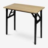 尼德(need)可折叠式办公电脑桌子 多用途便携式学习桌 AC5BB (80*40) E1级环保无味 柚木面黑腿