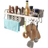 宝优妮厨房置物架壁挂架厨房收纳架刀架调味架厨房用品 加宽款DQ9068-1