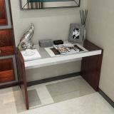 美宜德曼 电脑桌 斯克办公桌胡桃色+白色 钢化玻璃写字台学习桌写字桌
