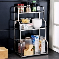 欧润哲 置物架 加厚304不锈钢亮光版三层调味瓶储物架厨房架