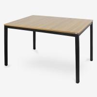 尼德(need)餐厅餐桌电脑桌子 家用办公会议培训桌 AC3BB (120*80) E1级环保无味 柚木面黑腿