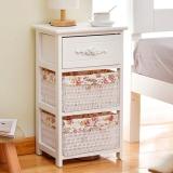 家逸实木床头柜现代简约收纳斗柜储物柜一木二斗橱白色
