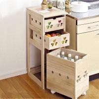 家逸餐边柜实木厨房收纳柜储物碗柜水果蔬菜柜三层