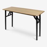 尼德 亚当系列E1级环保钢架折叠台式电脑培训桌子办公AC5BB-E1(120*40)柚木面黑框