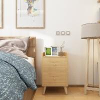 普拉塔(PULATA)床头柜 北欧简约实木腿多功能卧室斗柜 储物收纳双抽屉边桌小柜子 实木色 PLT1329