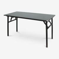 尼德(need)可折叠电脑桌子 家用办公会议培训桌 AC5CB (140*60) E1级环保无味 黑橡面黑腿