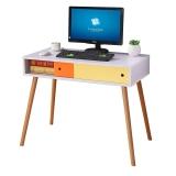 双箭 雅致实木脚带门电脑桌书桌学习桌 白色 SJ-1617