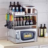 千恩千喜 QEQX SUS304不锈钢 微波炉架子 厨房置物架 收纳架 层架 支架 三层大号带8钩 A5808