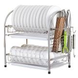 Edo 304不锈钢碗架 沥水架 双层碗碟架厨房置物架刀筷架TH8035