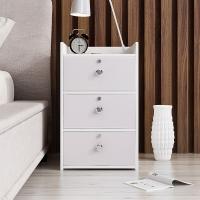 木以成居 床头柜 带锁简约床边柜 三层抽屉柜 简易小床头柜 储物收纳柜子 白色 LY-4057