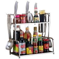 美厨(maxcook)厨房置物架 不锈钢二层置物架刀架调料瓶架 带挂钩筷子筒 MC2040T