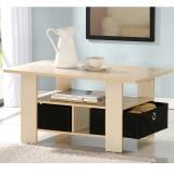 慧乐家 茶几 双抽咖啡桌 功能收纳客厅地柜边几 木纹色 11158