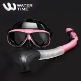 WaterTime蛙咚 潜水镜浮潜三宝潜水浮潜套装成人全干式呼吸管装备潜水眼镜 粉色