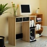 慧乐家 电脑桌 带抽家用简易书桌学习桌 经典办公桌 胡桃木+黑色 12101