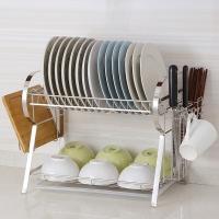 欧润哲 厨房置物架 不锈钢R型双层厨房用品碗碟架刀架筷子架沥水架 55*28*35CM