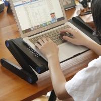 慧乐家 电脑桌 多功能折叠电脑托盘 懒人电脑桌 可折叠 黑色 22167