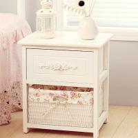 家逸实木床头柜两层卧室简约收纳斗柜储物柜一木一斗橱白色