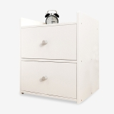木以成居 床头柜 简约床边柜 双抽屉柜 简易小床头柜 卧室储物收纳柜子 白色 LY-4056