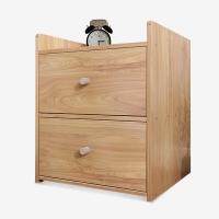 木以成居 床头柜 简约床边柜 双抽屉柜 简易小床头柜 卧室储物收纳柜子 原木色 LY-3067