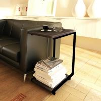 慧乐家 电脑桌 昊朗U型移动边桌 台式可移动家用茶几 黑色 22032-1