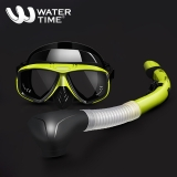 WaterTime蛙咚 潜水镜浮潜三宝潜水浮潜套装成人全干式呼吸管装备潜水眼镜 黄黑色