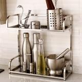欧润哲 304不锈钢厨房置物架 方管调料瓶调味架 厨房用品架 2层