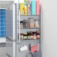 欧润哲 置物架 扁铁款加大号冰箱侧壁挂架免钉橱柜侧架厨具调味瓶厨具收纳用品储物架