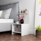 慧乐家 床头柜 简易带层架边几 简约现代床边柜 白色 11393