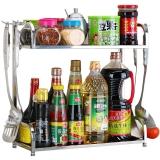 美厨(maxcook)厨房置物架不锈钢双层调味瓶架 带挂钩 MC2040